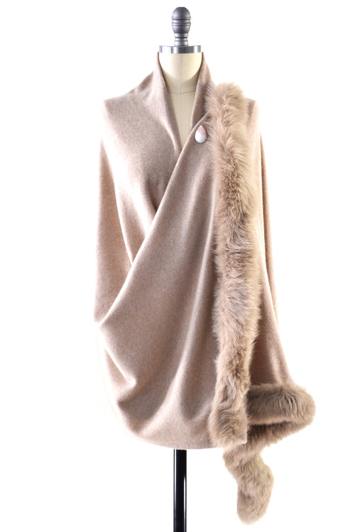 Cashmere Shawl with Double Fox Fur Trim in Safari
