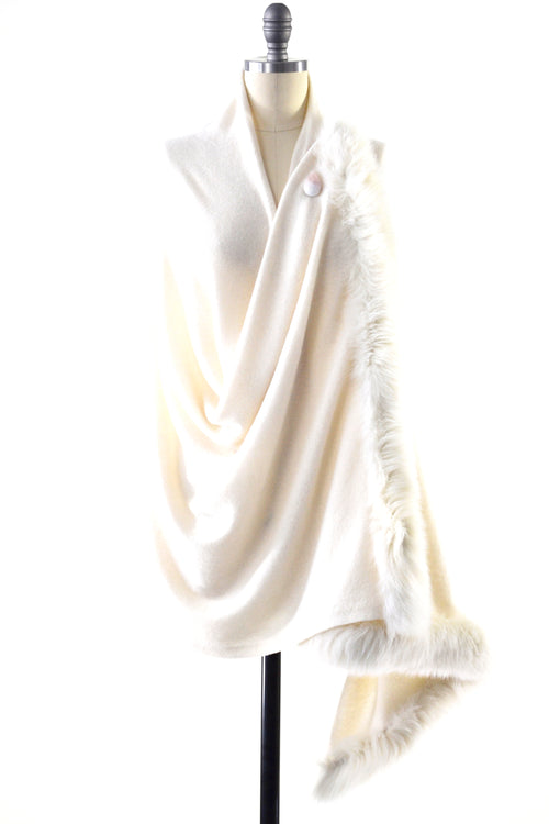 Cashmere Shawl with Double Fox Fur Trim in Vanilla