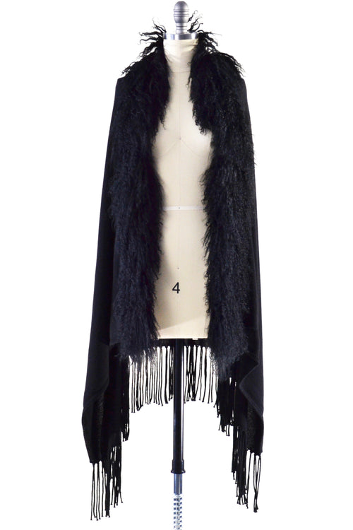 Cashmere Shawl with Curly Tibetan Sheep Fur in Black