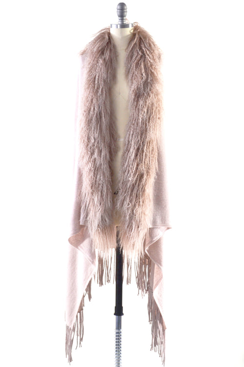 Cashmere Shawl with Curly Tibetan Sheep Fur in Blush