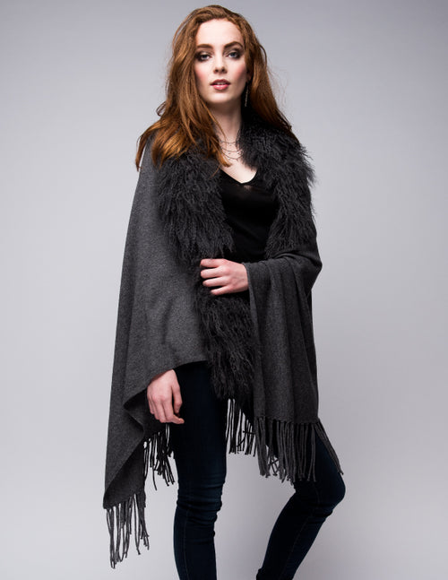 Cashmere Shawl with Curly Tibetan Sheep Fur in Charcoal