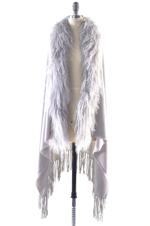 Cashmere Shawl with Curly Tibetan Sheep Fur in Dove Gray