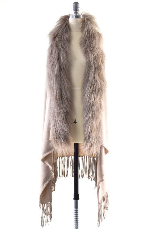 Cashmere Shawl with Curly Tibetan Sheep Fur in Safari