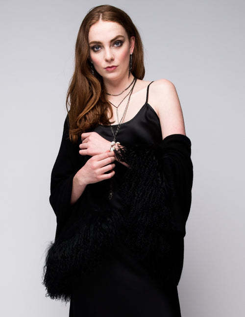 Cashmere Shawl with Double Curly Tibetan Sheep Fur in Black