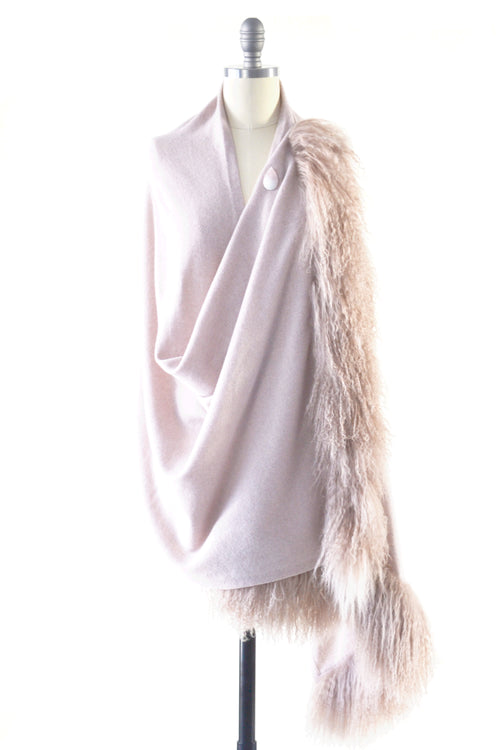 Cashmere Shawl with Double Curly Tibetan Sheep Fur in Blush