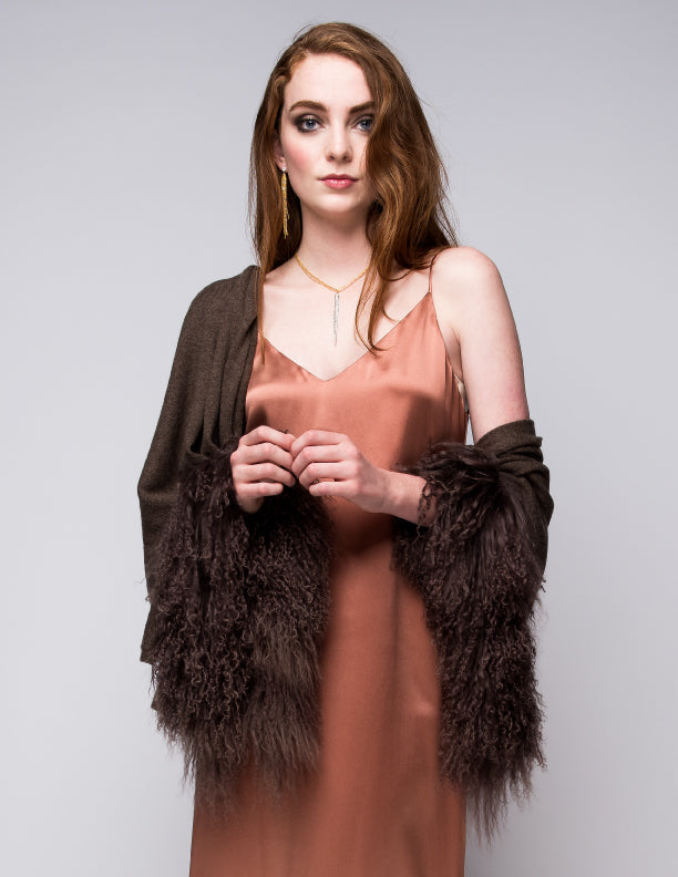 Cashmere Shawl with Double Curly Tibetan Sheep Fur in Chocolate