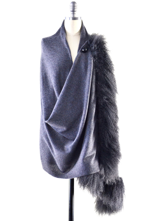 Cashmere Shawl with Double Curly Tibetan Sheep Fur in Charcoal