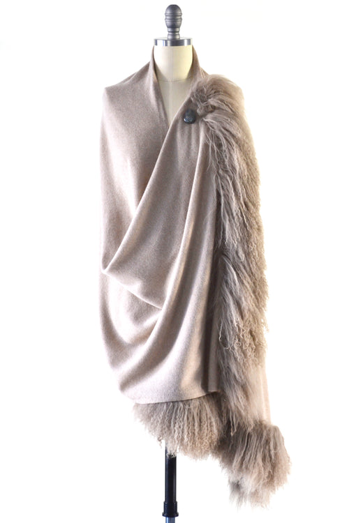 Cashmere Shawl with Double Curly Tibetan Sheep Fur in Safari