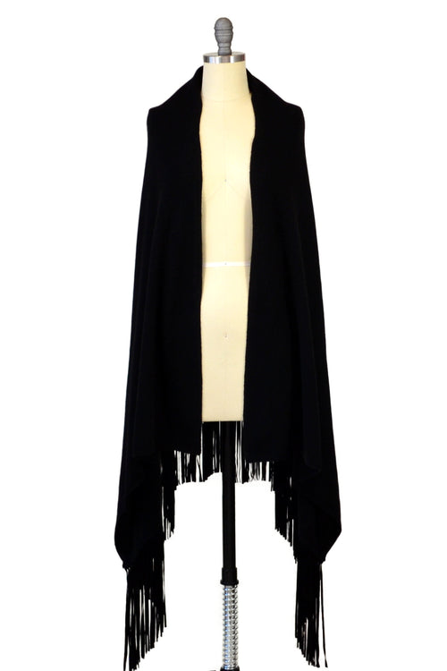 Black Cashmere Shawl with Suede Fringe & Embroidered Butterflies in Gunmetal