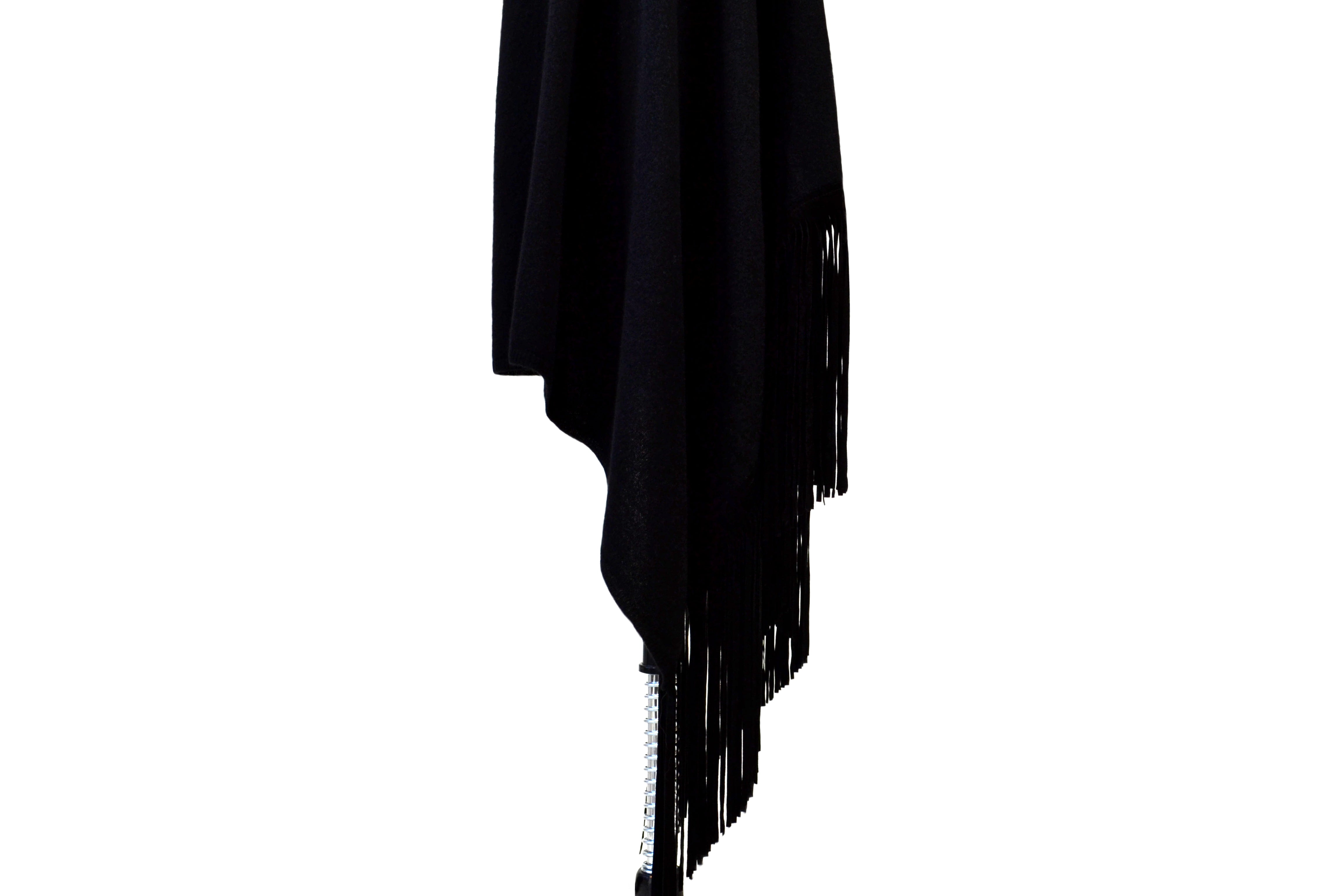 Black Cashmere Shawl with Suede Fringe & Embroidered Butterflies in Black
