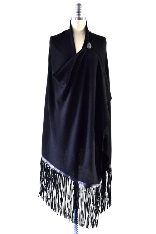Cashmere Shawl with Long Leather Fringe in Black