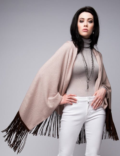 Cashmere Shawl with Long Suede Fringe in Blush