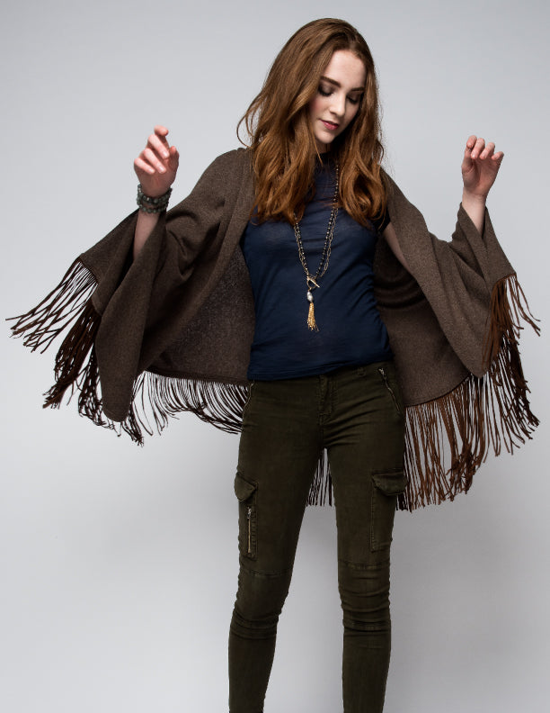 Cashmere Shawl with Long Suede Fringe in Chocolate