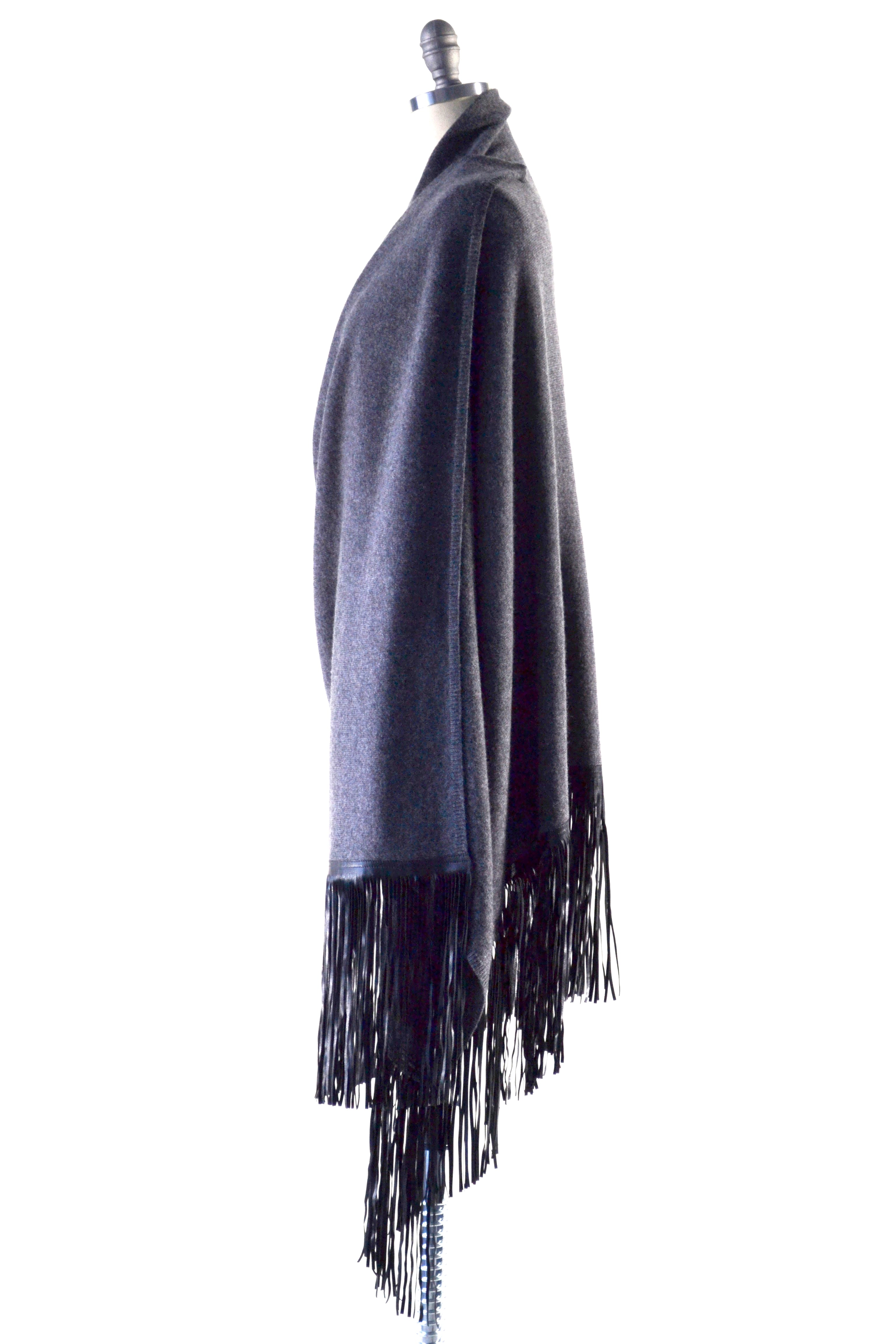 Cashmere Shawl with Long Leather Fringe in Charcoal