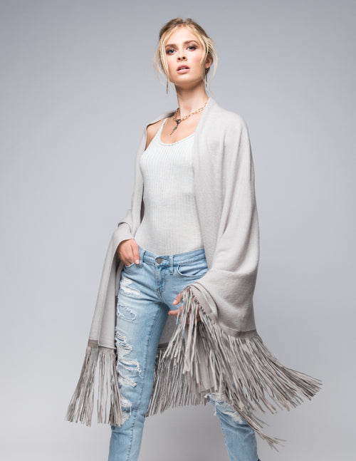 Cashmere Shawl with Long Leather Fringe in Dove Gray