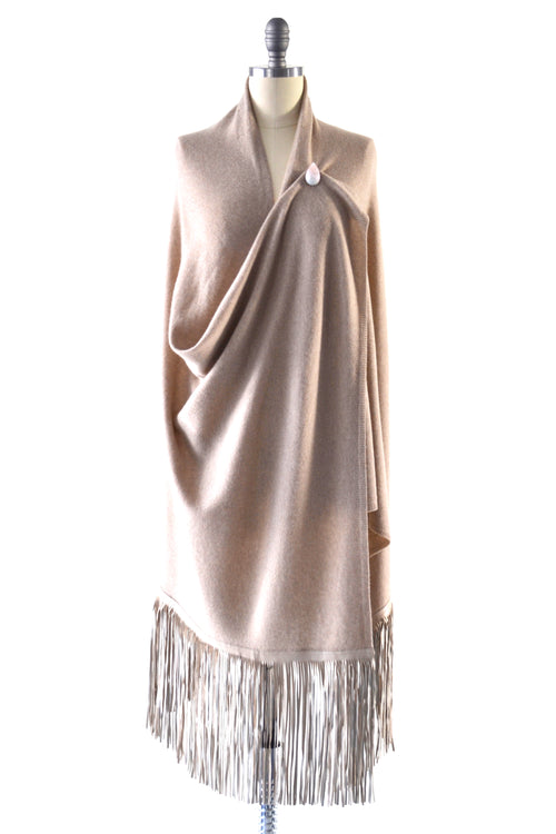 Cashmere Shawl with Long Leather Fringe in Safari