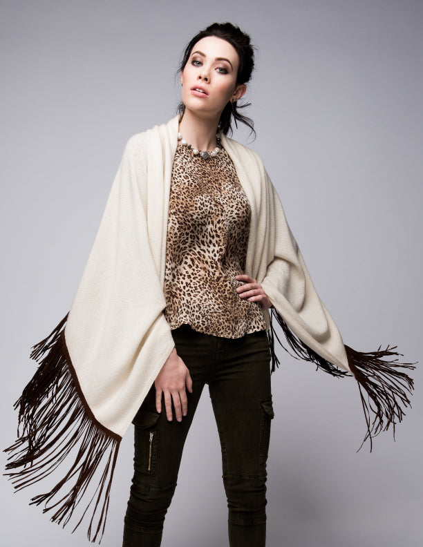 Cashmere Shawl with Long Suede Fringe in Vanilla