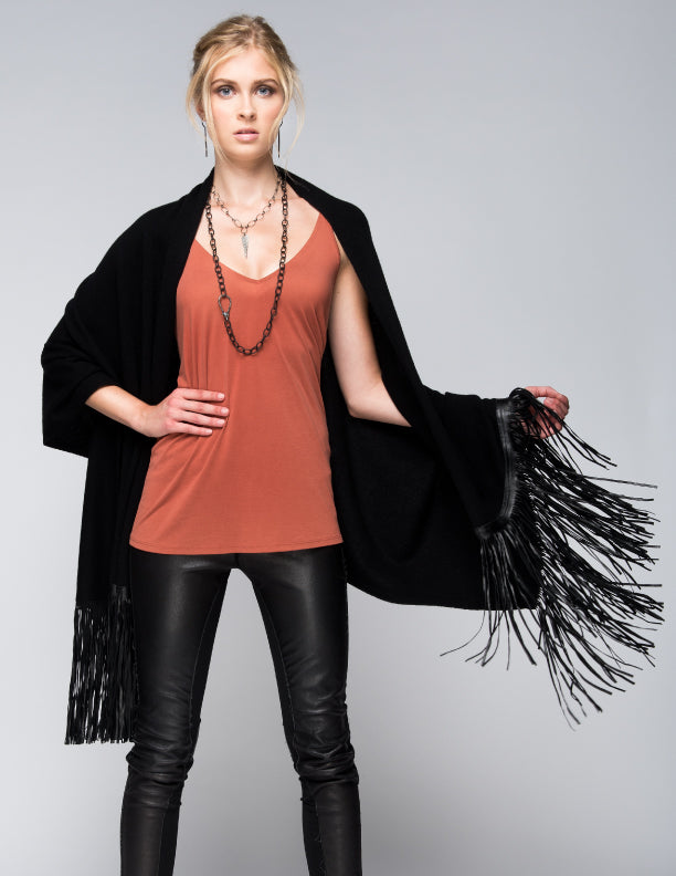 Cashmere Shawl with Double Leather Fringe in Black