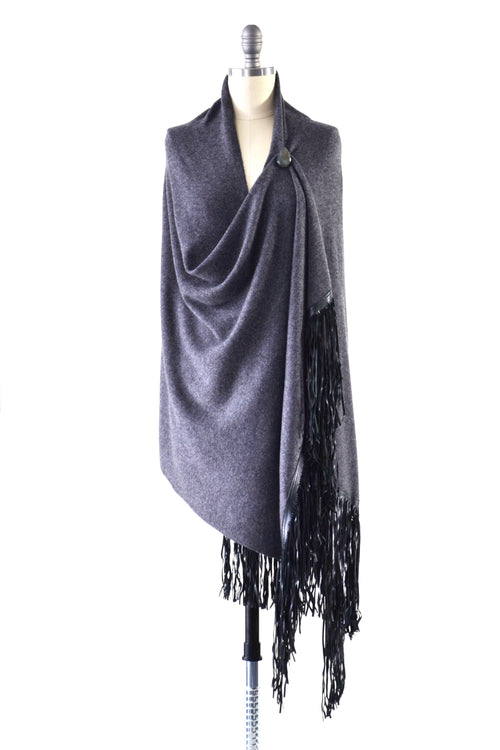 Cashmere Shawl with Double Leather Fringe in Charcoal