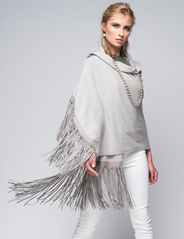 Cashmere Shawl with Double Leather Fringe in Dove Gray