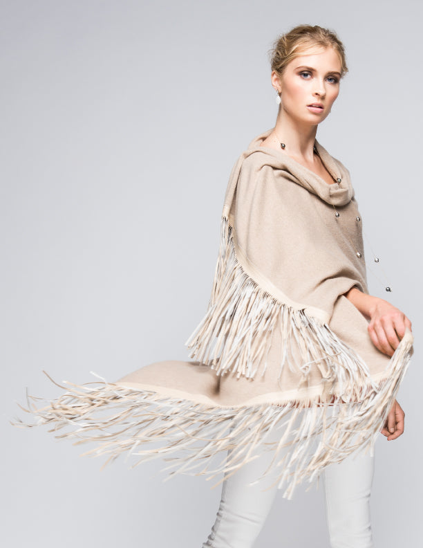 Cashmere Shawl with Double Leather Fringe in Safari