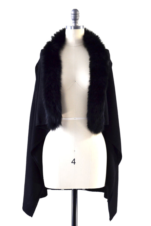 Cashmere Gilet/Vest with Fox Fur in Black