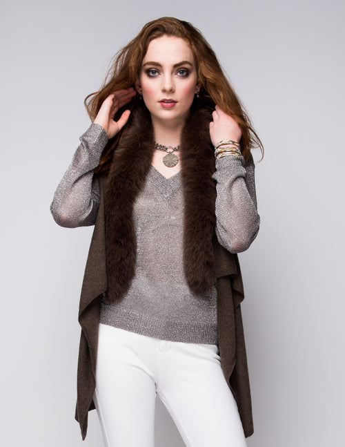Cashmere Gilet/Vest with Fox Fur in Chocolate