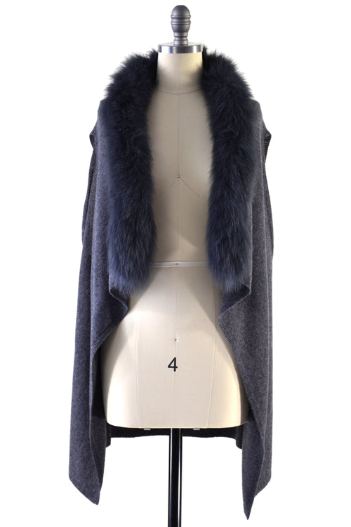 Cashmere Gilet/Vest with Fox Fur in Charcoal
