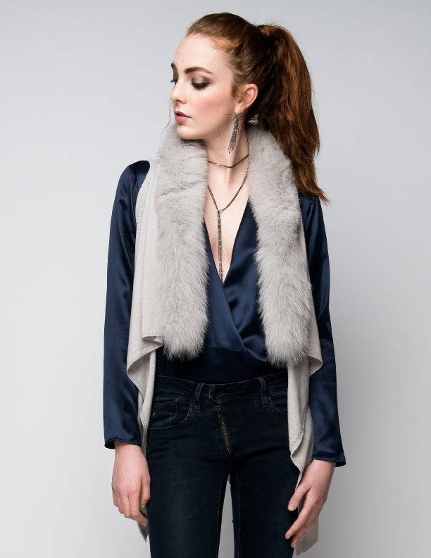 Cashmere Gilet/Vest with Fox Fur in Dove Gray