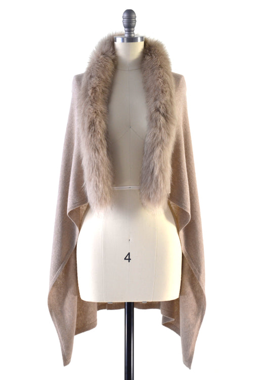 Cashmere Gilet/Vest with Fox Fur in Safari