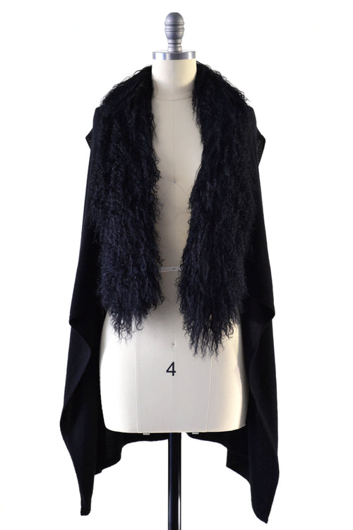Cashmere Gilet/Vest with Curly Tibetan Sheep Fur in Black