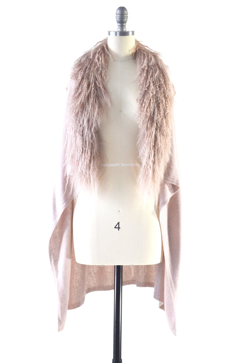 Cashmere Gilet/Vest with Curly Tibetan Sheep Fur in Blush