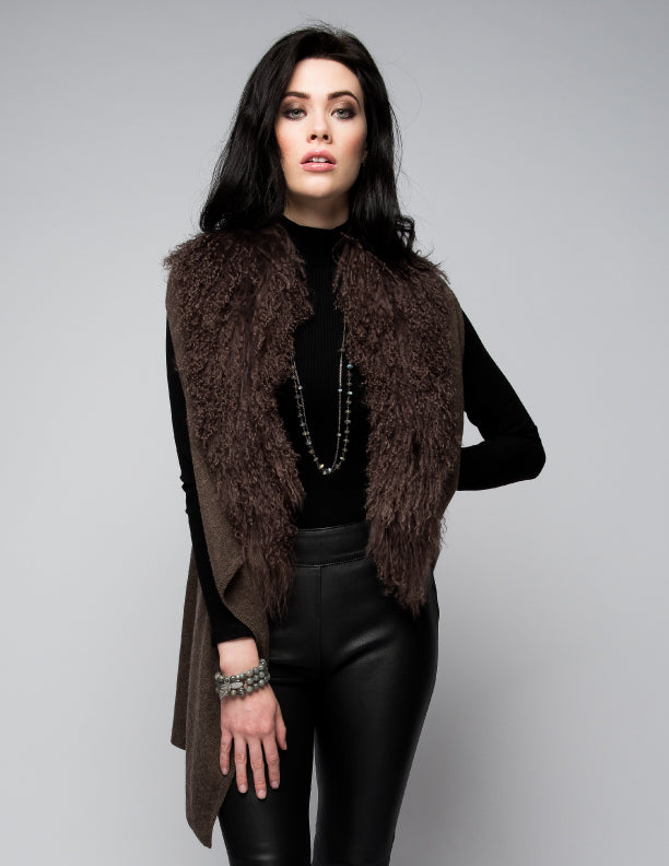 Cashmere Gilet/Vest with Curly Tibetan Sheep Fur in Chocolate
