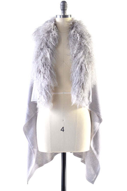 Cashmere Gilet/Vest with Curly Tibetan Sheep Fur in Dove Gray