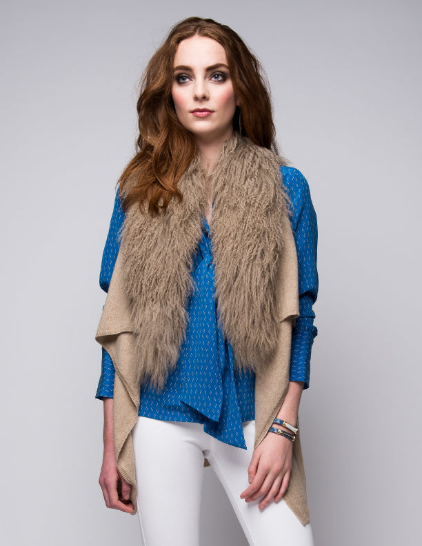 Cashmere Gilet/Vest with Curly Tibetan Sheep Fur in Safari