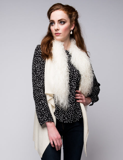 Cashmere Gilet/Vest with Curly Tibetan Sheep Fur in Vanilla