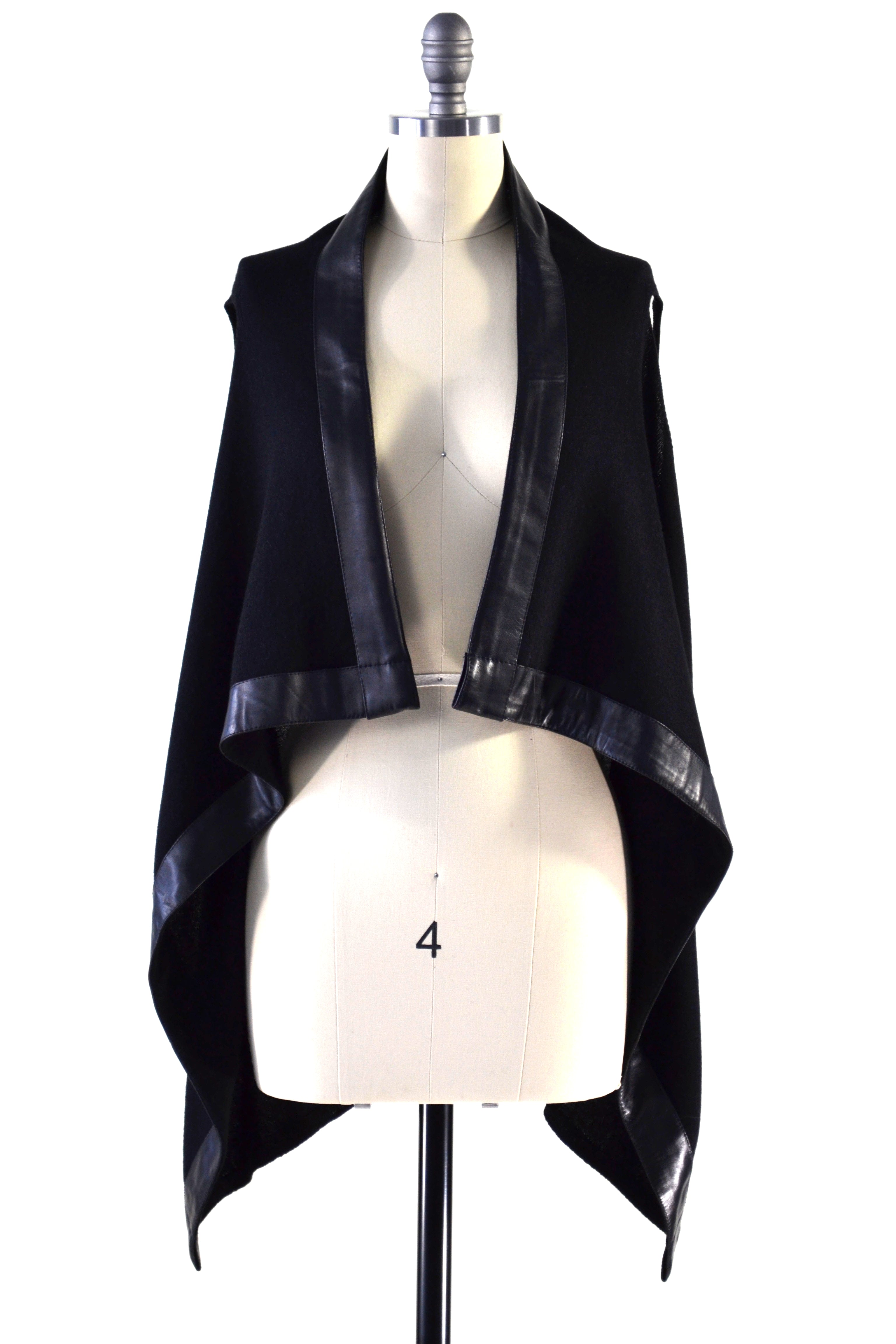 Cashmere Gilet/Vest with Leather Trim in Black