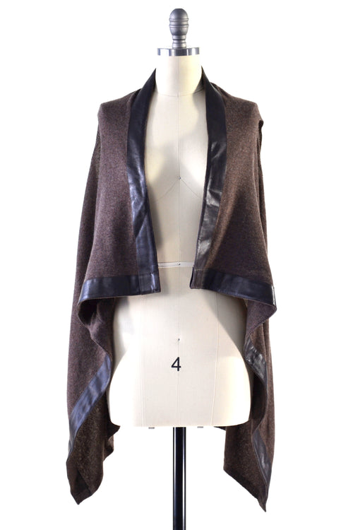 Cashmere Gilet/Vest with Leather Trim in Chocolate