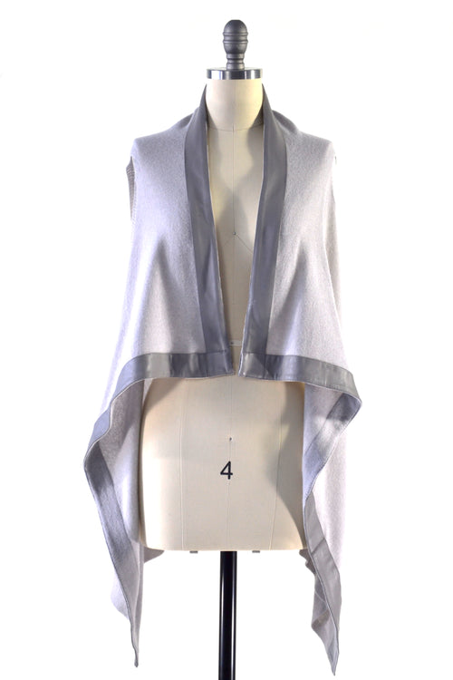Cashmere Gilet/Vest with Leather Trim in Dove Gray