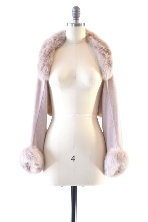 Cashmere Shrug with Fox Fur in Blush