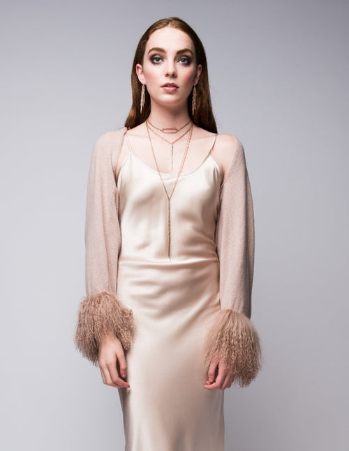 Cashmere Shrug with Curly Tibetan Sheep Fur in Blush