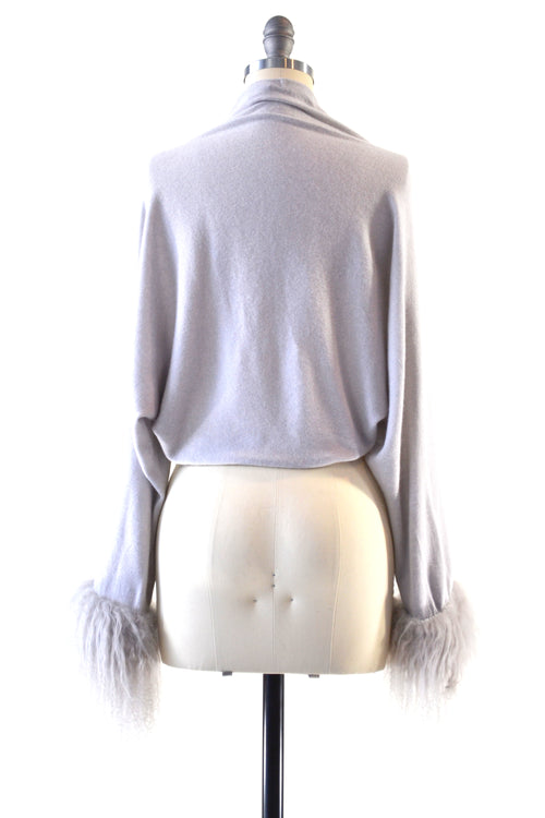 Cashmere Shrug with Curly Tibetan Sheep Fur in Dove Gray