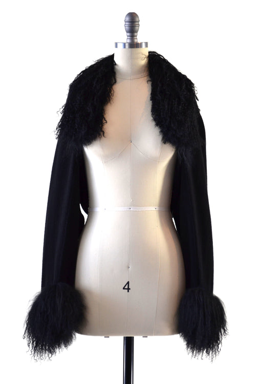 Cashmere Shrug with Double Curly Tibetan Sheep Fur in Black