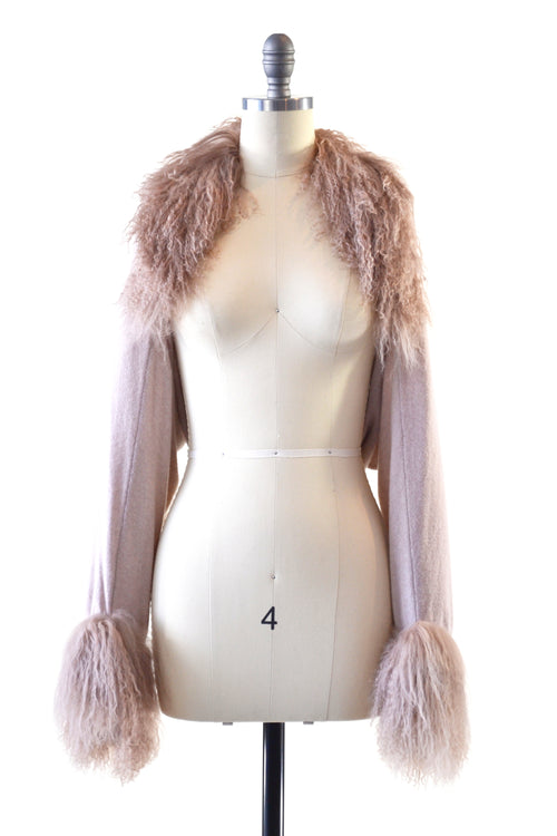 Cashmere Shrug with Double Curly Tibetan Sheep Fur in Blush