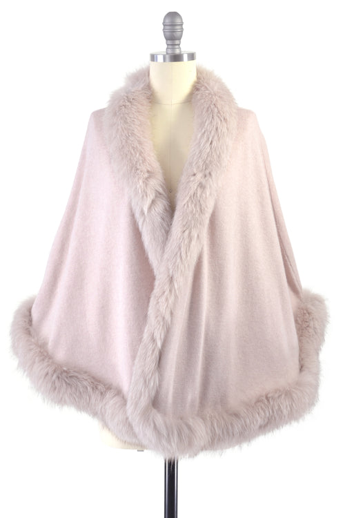 Cashmere Cape with Full Fox Fur Trim in Blush