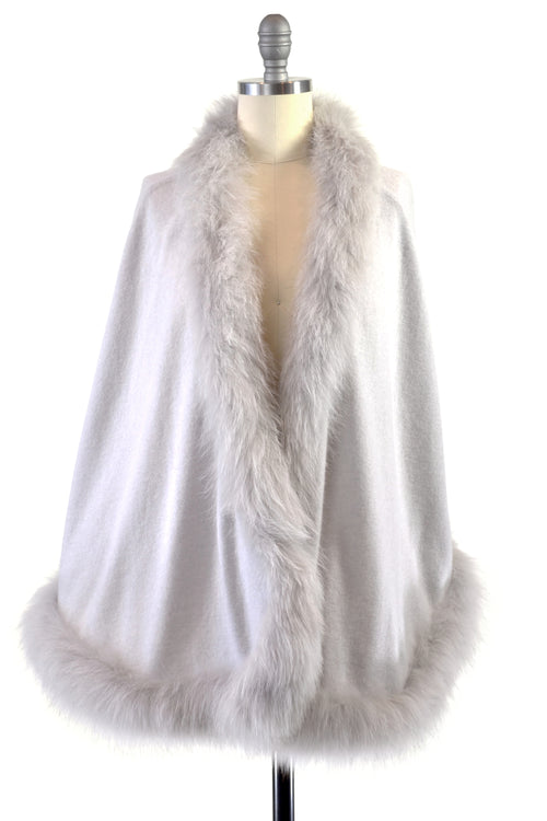 Cashmere Cape with Full Fox Fur Trim in Dove Gray