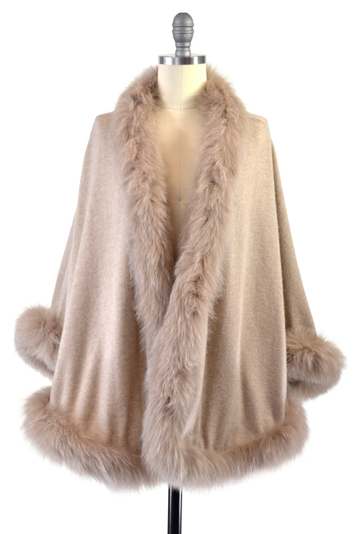 Cashmere Cape with Full Fox Fur Trim in Safari