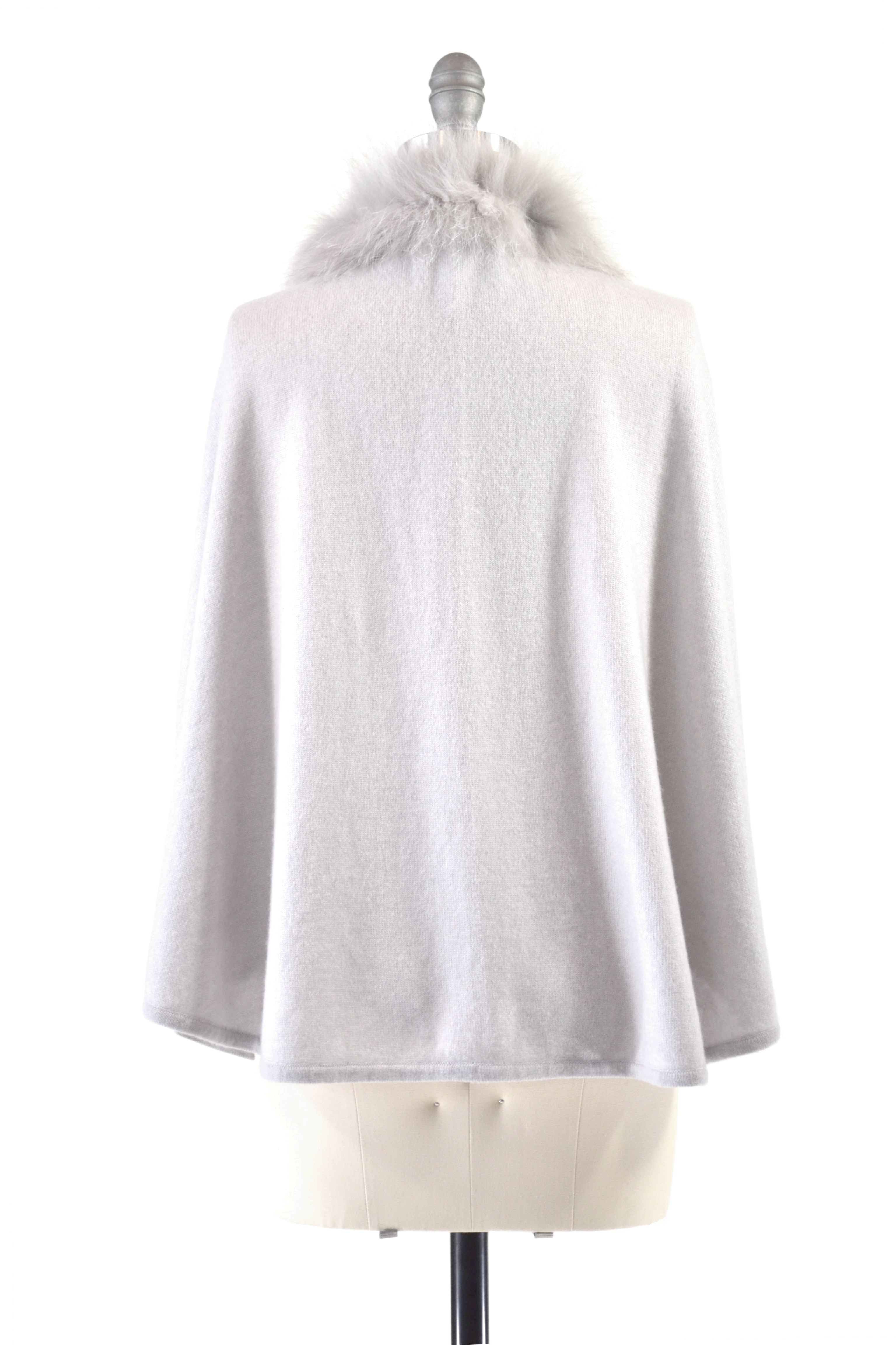 Cashmere Cape with Front Fox Fur Trim in Dove Gray
