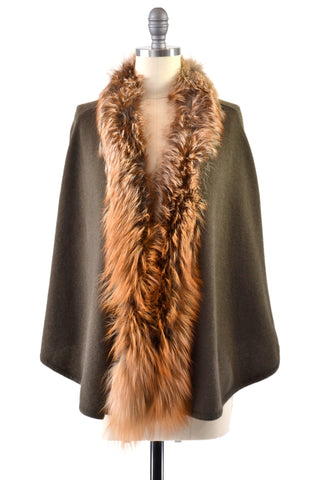 Cashmere Shawl with Curly Tibetan Sheep Fur in Chocolate