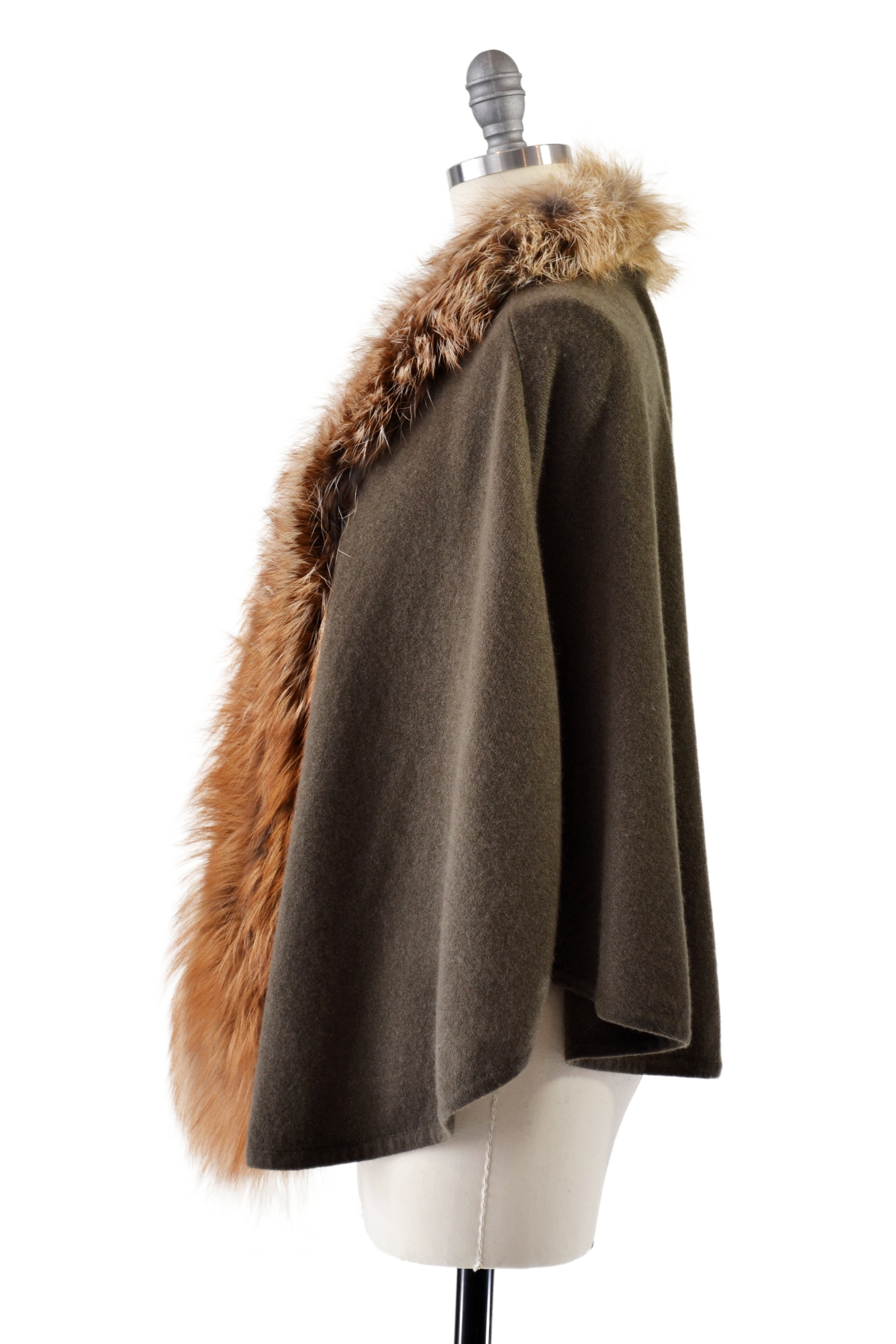 Cashmere Cape with Front Fox Fur Trim in Hunter Green